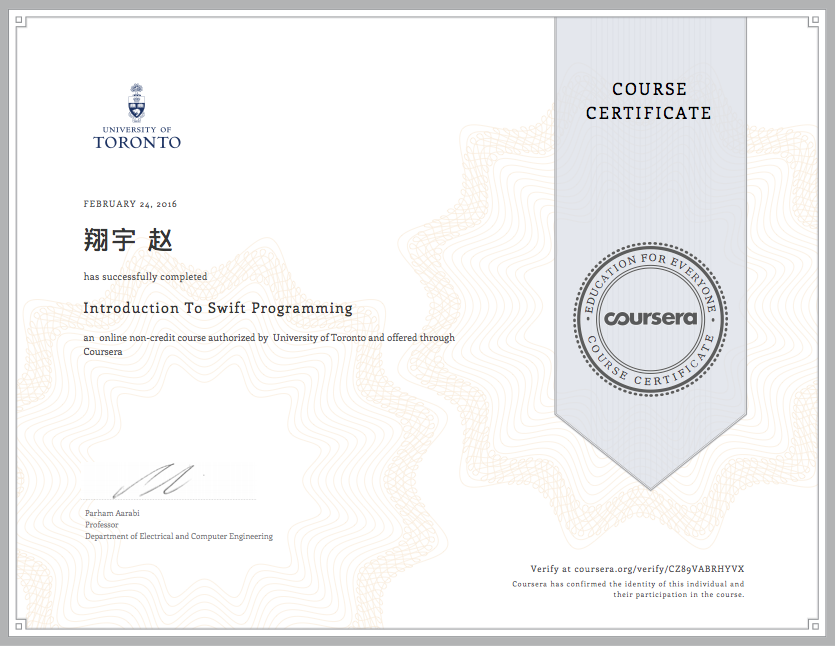 东北育才学校高中部1402赵翔宇Introduction to Swift Programming Certificate