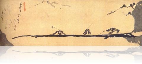 blind men crossing a bridge
