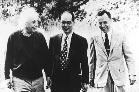 Albert Einstein, Hideki Yukawa and John Wheeler in Princeton 1954